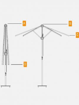 سایبان چتری تکنو ویلا مدل UCP12