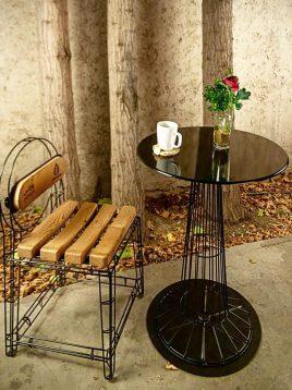 صندلی ناهار خوری فلزی نهالسان مدل میله ای