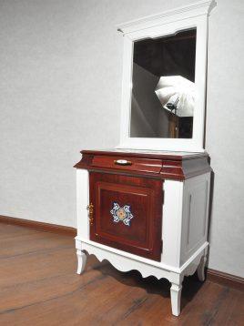 آینه کنسول تک درب چوبی هندسی مدل صدف