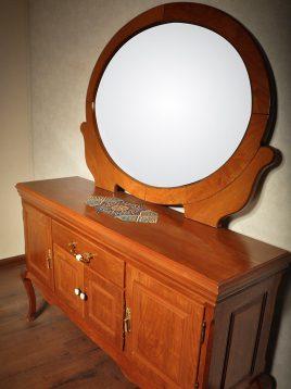 بوفه کنسول و آینه بیضی چوبی هندسی