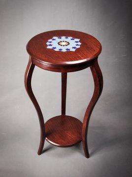 میز تلفن چوبی گرد هندسی مدل آباژور