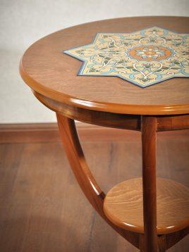 میز کنار سالن تمام چوب هندسی مدل سه پایه