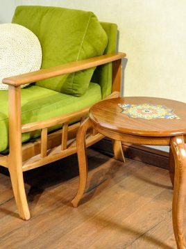 میز کنار مبلی چوبی هندسی مدل گرد