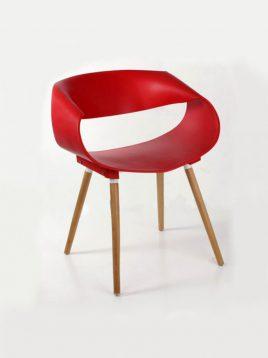صندلی پلی کربنات پایه چوبی نگین مدل P682
