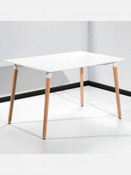 میز پایه چوبی مستطیل نگین