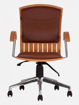 صندلی کارشناسی جکدار اروند با مکانیزم با کف و پشت چوبی کد ۳۴۱۴