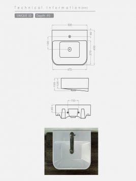 روشویی روکابینتی گلسار مدل یونیک۵۰