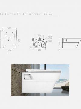 توالت فرنگی وال هنگ گلسار مدل آستر