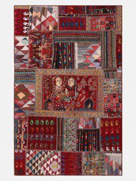 heidariancarpet Fortypieces carpet vintej pachorak AJ model1 268x358 - قالی چهل تکه وینتچ حیدریان مدل پچورک AJ