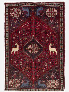 heidariancarpet ghashghaei vintej carpet toranj D model1 268x358 - قالی قشقایی وینتج حیدریان مدل ترنج زمینه آلبالویی
