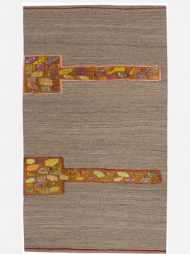 heidariancarpet rugs TACHE N model1 268x358 - گلیم فرش نوبافت حیدریان مدل تاچه زمینه قهوه ای تیره