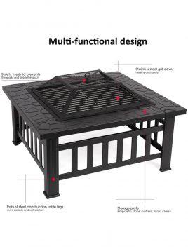 آتشدان هیزمی مدل چهارگوش پایه نرده ای  کد ۳۰۷