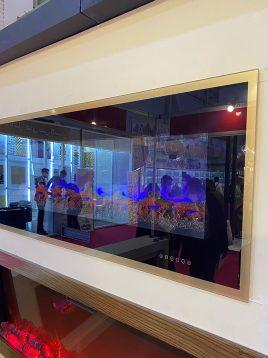 شومینه برقی هفت رنگ ریموت دار گرمایش دار با قاب طلایی