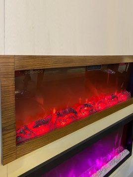 شومینه برقی سه رنگ ریموت دار گرمایش دار با قاب چوبی